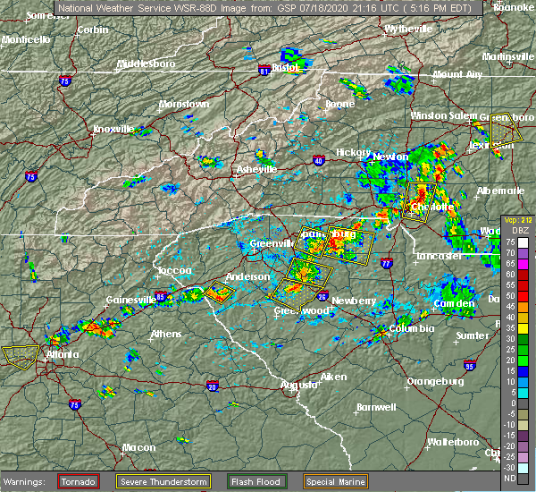Radar Image for Severe Thunderstorms near Mayo, SC at 7/18/2020 5:23 PM EDT