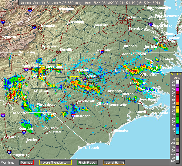 Radar Image for Severe Thunderstorms near Smithfield, NC at 7/18/2020 5:25 PM EDT