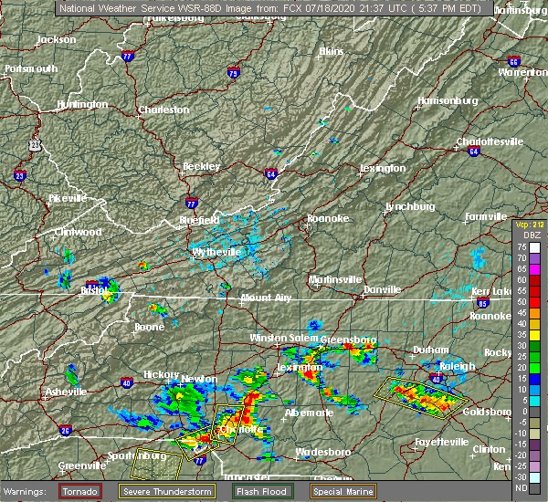 Radar Image for Severe Thunderstorms near Concord, NC at 7/18/2020 5:41 PM EDT