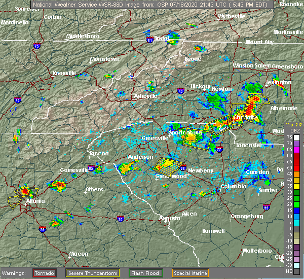 Radar Image for Severe Thunderstorms near Concord, NC at 7/18/2020 5:49 PM EDT