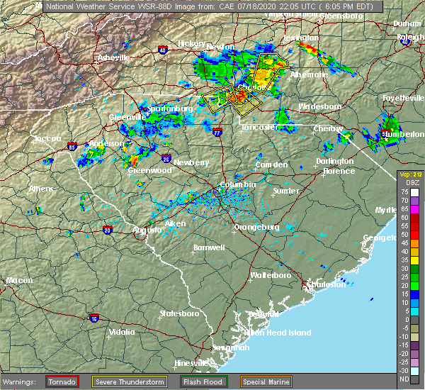 Radar Image for Severe Thunderstorms near Locust, NC at 7/18/2020 6:08 PM EDT