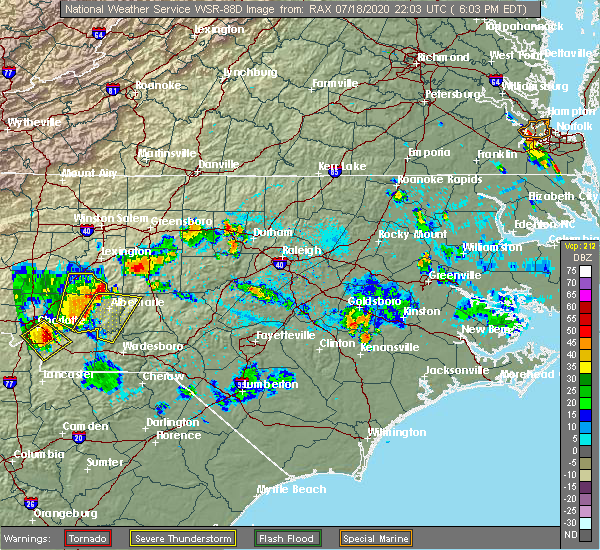 Radar Image for Severe Thunderstorms near Brogden, NC at 7/18/2020 6:19 PM EDT