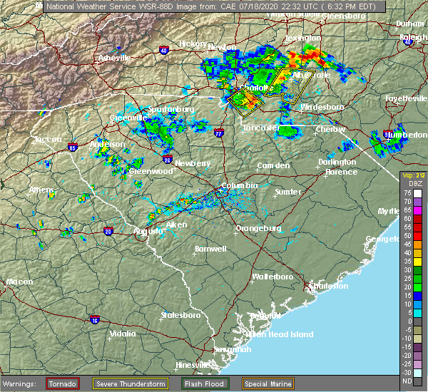 Radar Image for Severe Thunderstorms near Mineral Springs, NC at 7/18/2020 6:36 PM EDT
