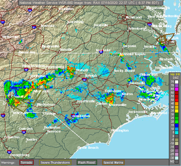 Radar Image for Severe Thunderstorms near Mount Olive, NC at 7/18/2020 6:41 PM EDT