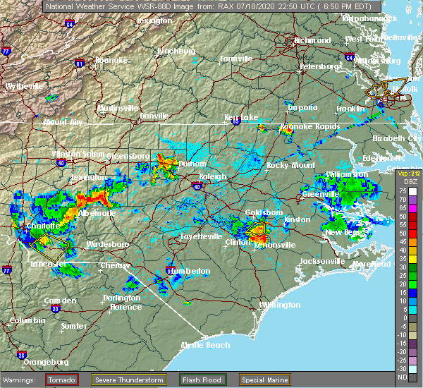 Radar Image for Severe Thunderstorms near Mount Olive, NC at 7/18/2020 6:54 PM EDT