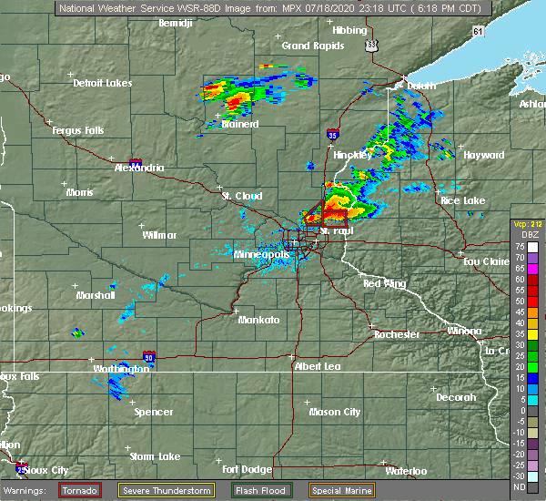 Radar Image for Severe Thunderstorms near Columbus, MN at 7/18/2020 6:23 PM CDT