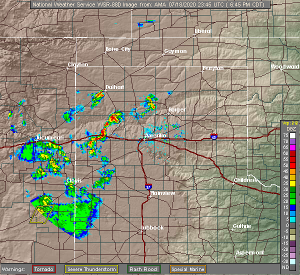 Radar Image for Severe Thunderstorms near Vega, TX at 7/18/2020 6:50 PM CDT