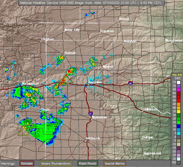 Radar Image for Severe Thunderstorms near Vega, TX at 7/18/2020 6:57 PM CDT