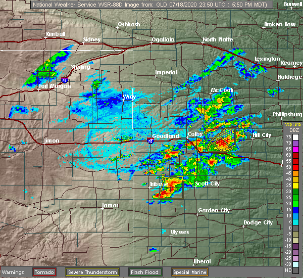Radar Image for Severe Thunderstorms near Hoxie, KS at 7/18/2020 6:57 PM CDT
