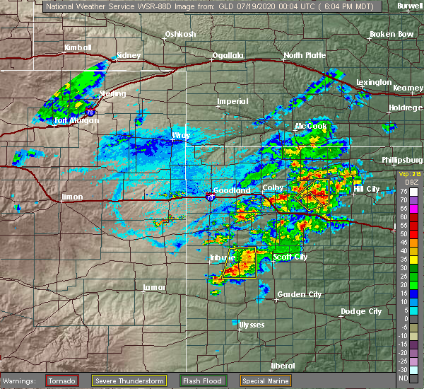 Radar Image for Severe Thunderstorms near Hoxie, KS at 7/18/2020 7:09 PM CDT
