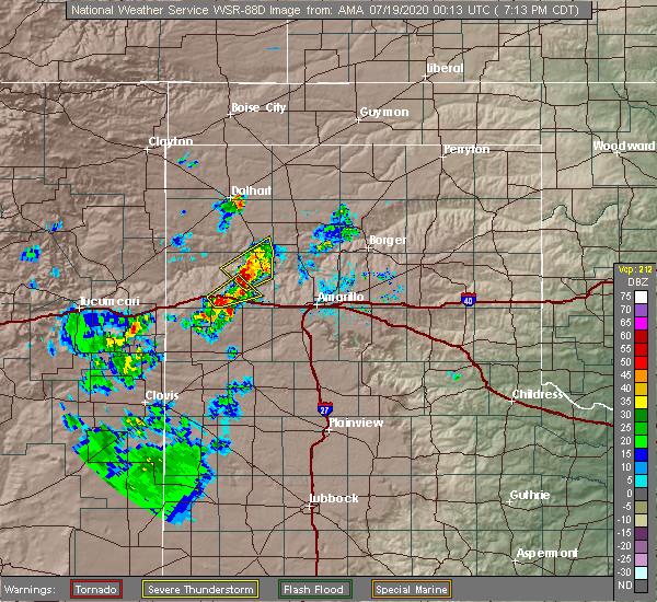 Radar Image for Severe Thunderstorms near Vega, TX at 7/18/2020 7:15 PM CDT