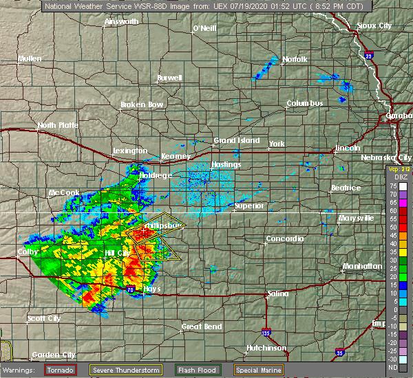 Radar Image for Severe Thunderstorms near Plainville, KS at 7/18/2020 8:55 PM CDT