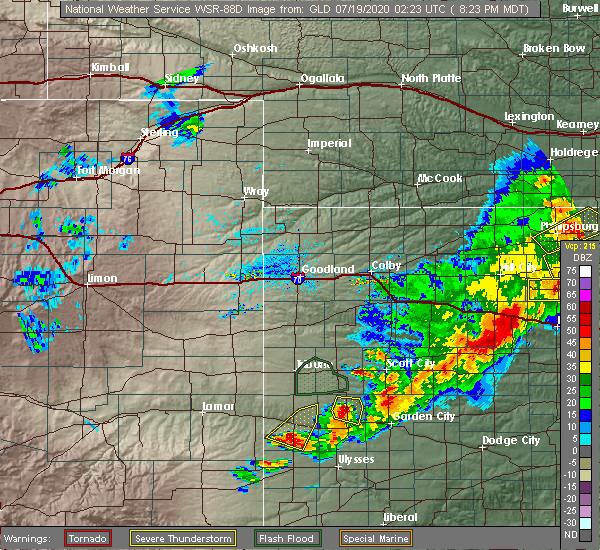 Radar Image for Severe Thunderstorms near Syracuse, KS at 7/18/2020 8:26 PM MDT