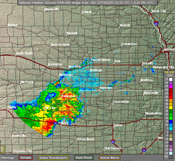 Radar Image for Severe Thunderstorms near Alton, KS at 7/18/2020 9:27 PM CDT