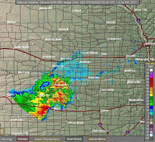 Radar Image for Severe Thunderstorms near Stockton, KS at 7/18/2020 9:27 PM CDT