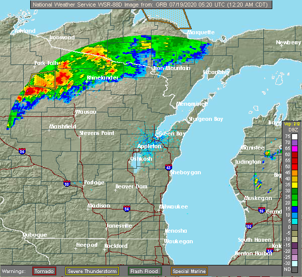 Radar Image for Severe Thunderstorms near Rhinelander, WI at 7/19/2020 12:25 AM CDT