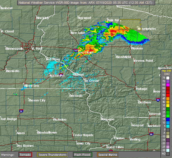 Radar Image for Severe Thunderstorms near Greenwood, WI at 7/19/2020 12:39 AM CDT