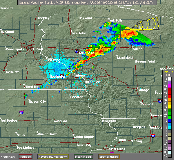 Radar Image for Severe Thunderstorms near Greenwood, WI at 7/19/2020 1:05 AM CDT