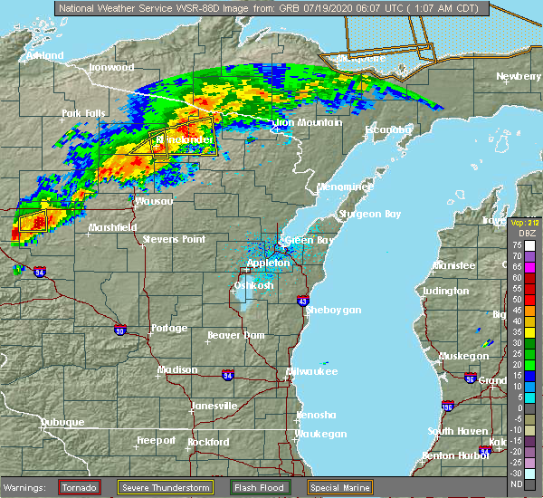 Radar Image for Severe Thunderstorms near Summit Lake, WI at 7/19/2020 1:25 AM CDT