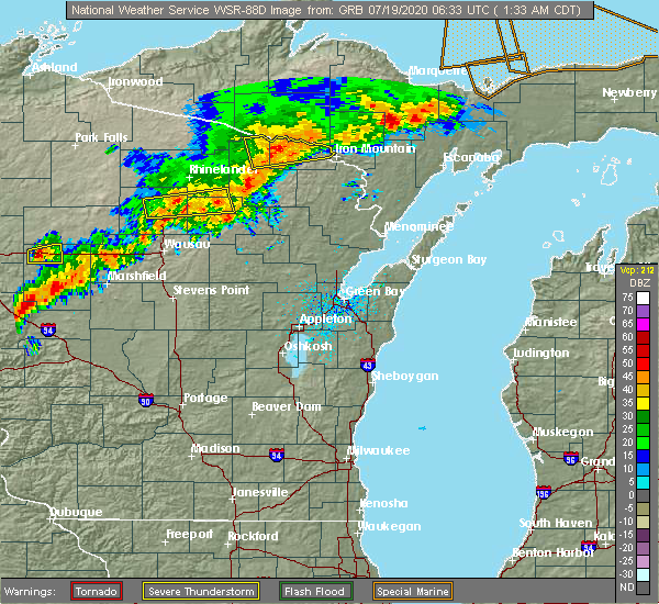 Radar Image for Severe Thunderstorms near Summit Lake, WI at 7/19/2020 1:39 AM CDT