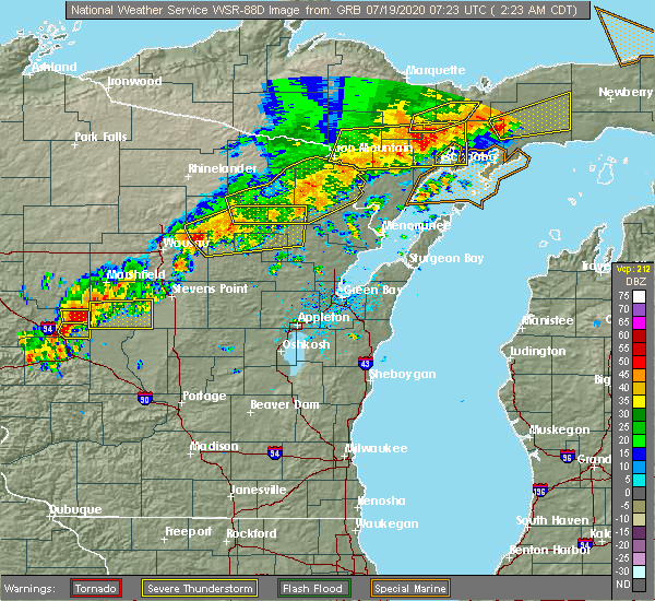Radar Image for Severe Thunderstorms near Aniwa, WI at 7/19/2020 2:25 AM CDT