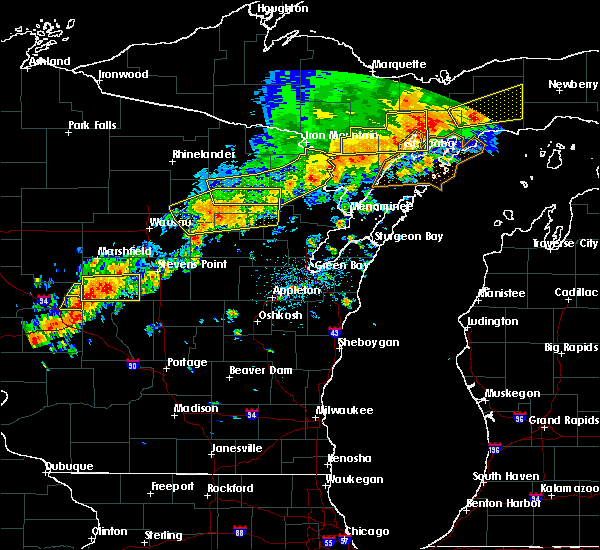 Radar Image for Severe Thunderstorms near Aniwa, WI at 7/19/2020 2:37 AM CDT