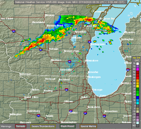 Radar Image for Severe Thunderstorms near Oxford, WI at 7/19/2020 3:46 AM CDT