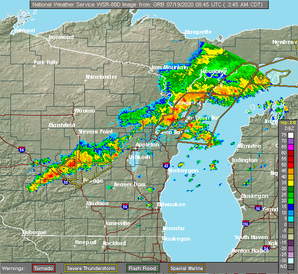 Radar Image for Severe Thunderstorms near Sturgeon Bay, WI at 7/19/2020 3:49 AM CDT