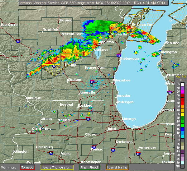 Radar Image for Severe Thunderstorms near Oxford, WI at 7/19/2020 4:02 AM CDT
