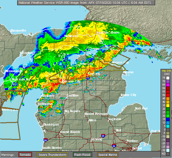 Radar Image for Severe Thunderstorms near South Boardman, MI at 7/19/2020 6:10 AM EDT
