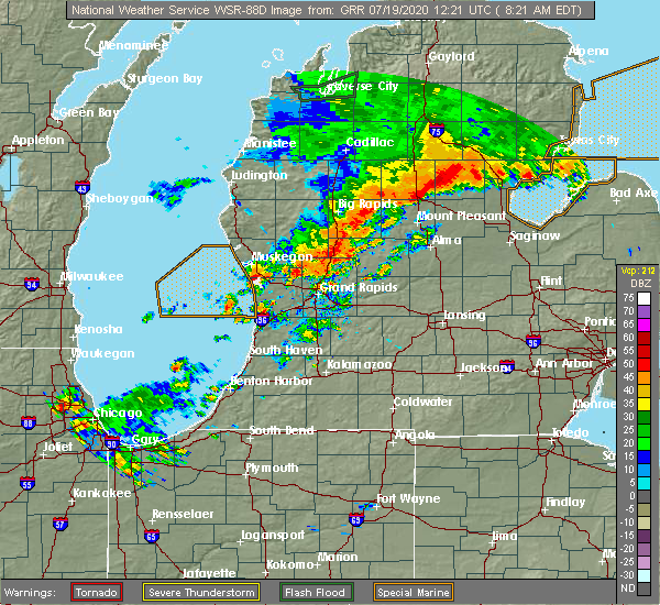 Radar Image for Severe Thunderstorms near Canadian Lakes, MI at 7/19/2020 8:28 AM EDT