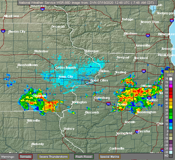 Radar Image for Severe Thunderstorms near Farmington, IA at 7/19/2020 7:50 AM CDT