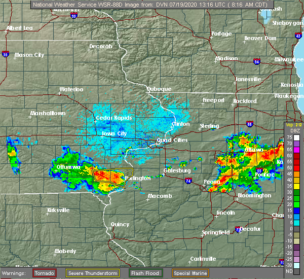 Radar Image for Severe Thunderstorms near Mount Pleasant, IA at 7/19/2020 8:19 AM CDT