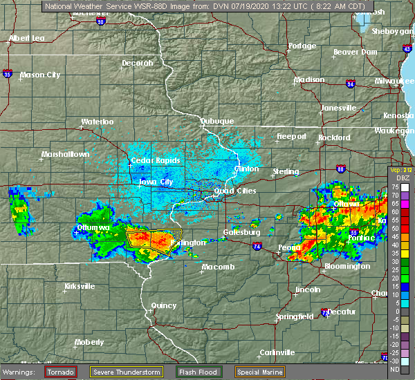 Radar Image for Severe Thunderstorms near New London, IA at 7/19/2020 8:26 AM CDT