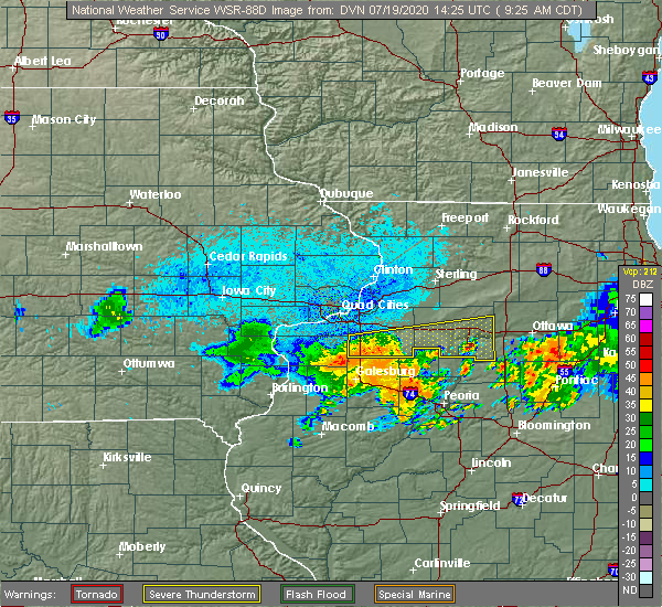 Radar Image for Severe Thunderstorms near Seatonville, IL at 7/19/2020 9:33 AM CDT
