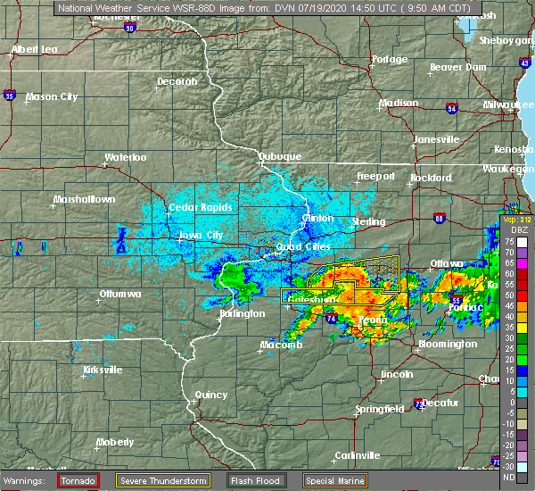 Radar Image for Severe Thunderstorms near Hopewell, IL at 7/19/2020 9:56 AM CDT