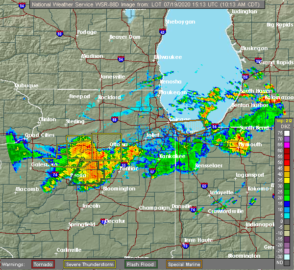 Radar Image for Severe Thunderstorms near Streator, IL at 7/19/2020 10:18 AM CDT