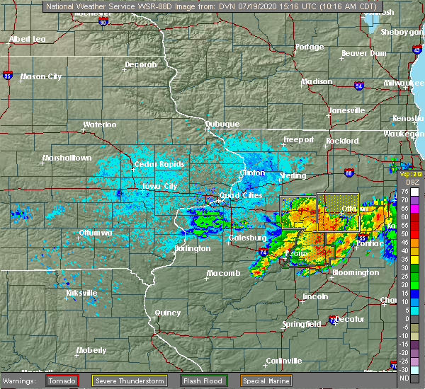 Radar Image for Severe Thunderstorms near Seatonville, IL at 7/19/2020 10:22 AM CDT