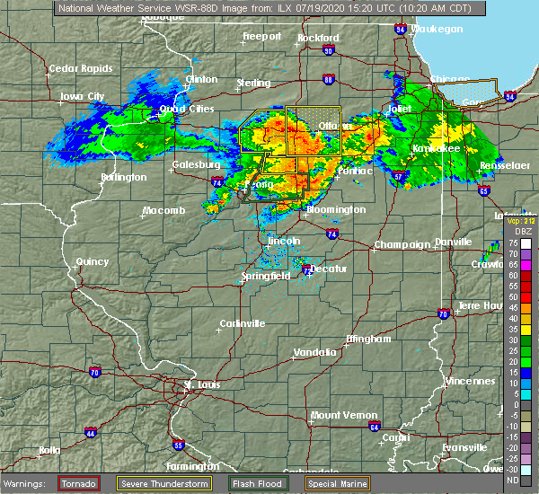 Radar Image for Severe Thunderstorms near Wenona, IL at 7/19/2020 10:22 AM CDT