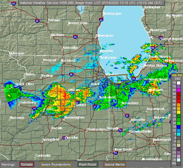 Radar Image for Severe Thunderstorms near Cornell, IL at 7/19/2020 10:25 AM CDT