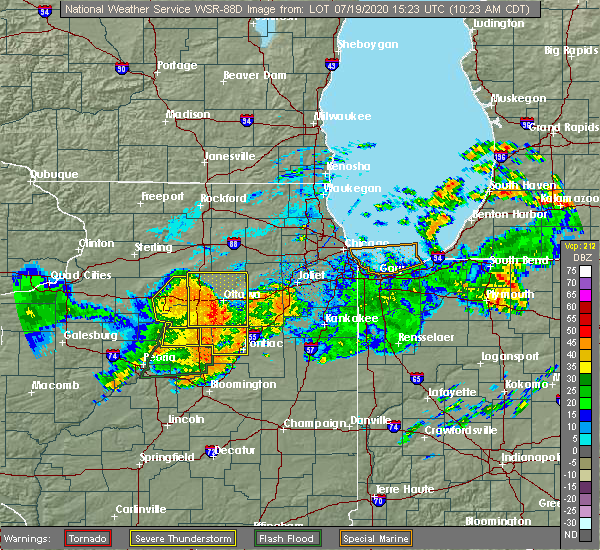 Radar Image for Severe Thunderstorms near Seatonville, IL at 7/19/2020 10:30 AM CDT