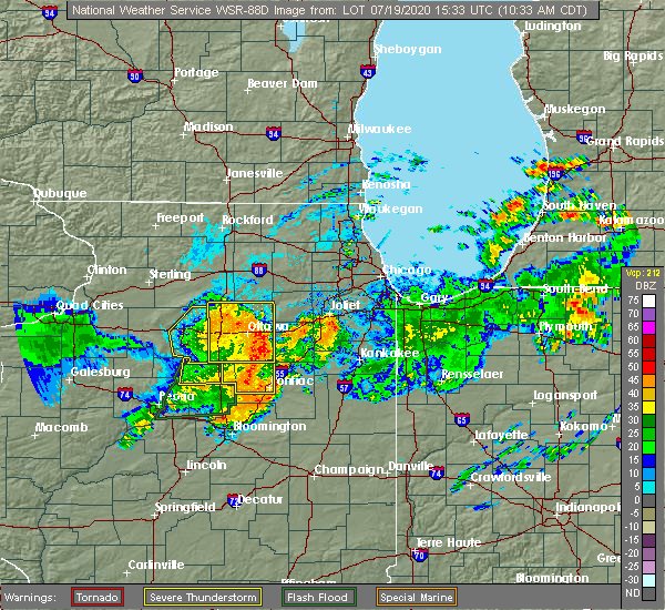 Radar Image for Severe Thunderstorms near Yorkville, IL at 7/19/2020 10:38 AM CDT