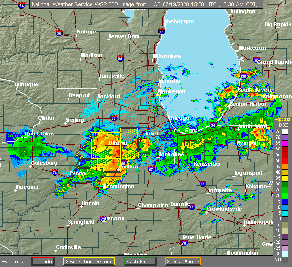 Radar Image for Severe Thunderstorms near Reddick, IL at 7/19/2020 10:43 AM CDT