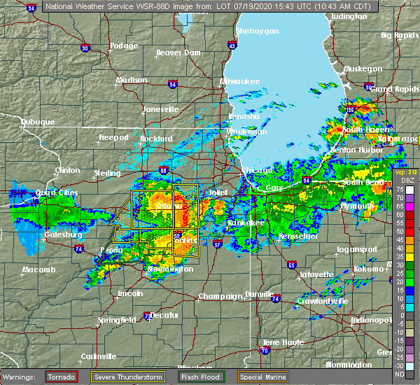 Radar Image for Severe Thunderstorms near Cornell, IL at 7/19/2020 10:51 AM CDT