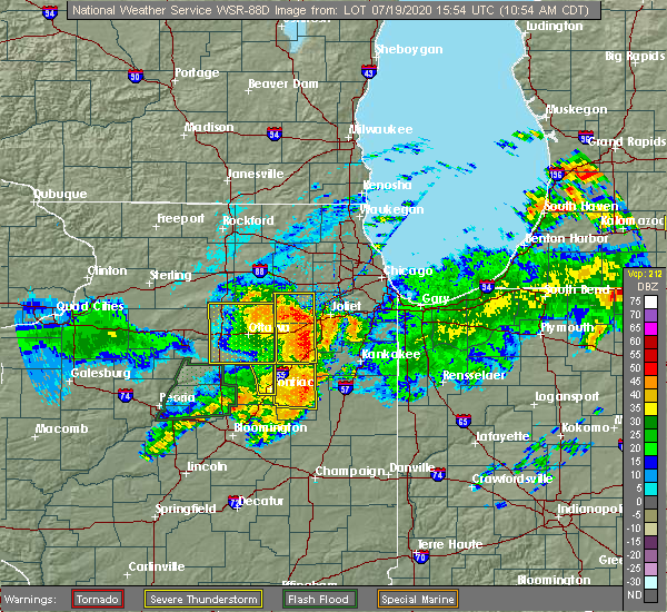 Radar Image for Severe Thunderstorms near Lakewood Shores, IL at 7/19/2020 11:05 AM CDT