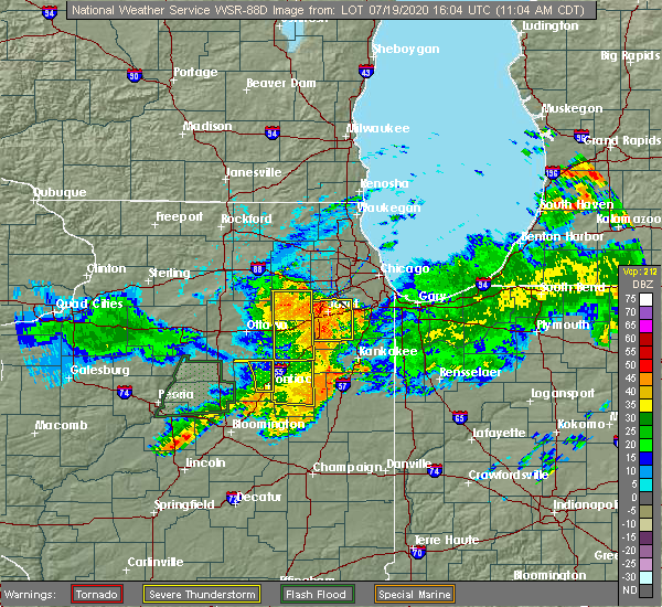 Radar Image for Severe Thunderstorms near Montgomery, IL at 7/19/2020 11:08 AM CDT