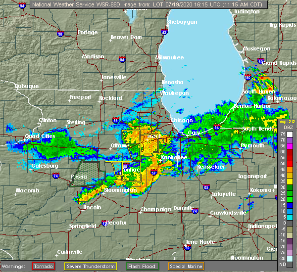 Radar Image for Severe Thunderstorms near Lakewood Shores, IL at 7/19/2020 11:20 AM CDT