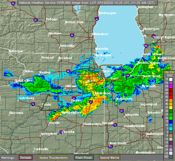 Radar Image for Severe Thunderstorms near Lakewood Shores, IL at 7/19/2020 11:29 AM CDT