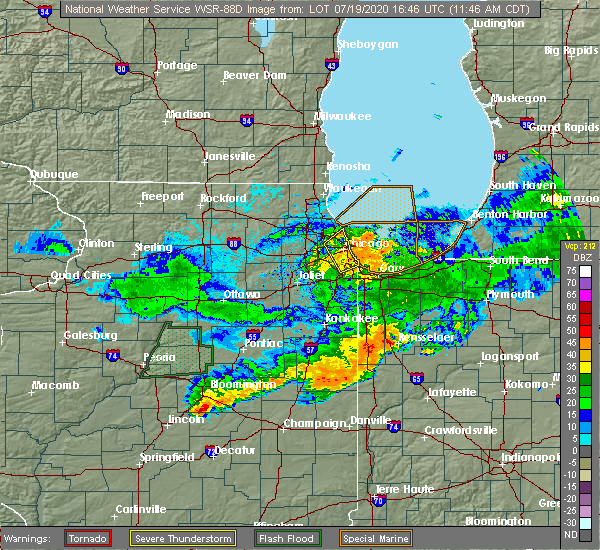 Radar Image for Severe Thunderstorms near Mount Ayr, IN at 7/19/2020 11:49 AM CDT