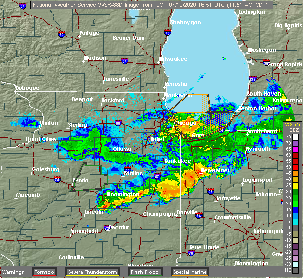 Radar Image for Severe Thunderstorms near Melrose Park, IL at 7/19/2020 11:55 AM CDT